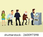illustration of a queue of... | Shutterstock .eps vector #260097398