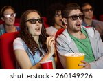 young friends watching a 3d... | Shutterstock . vector #260149226
