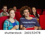 young couple watching a film at ... | Shutterstock . vector #260152478