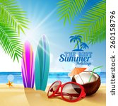 sunglasses on the beach | Shutterstock .eps vector #260158796