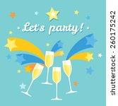 pile of champagne glasses.... | Shutterstock .eps vector #260175242