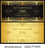 luxury golden gift certificate... | Shutterstock .eps vector #260177495