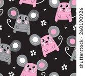 seamless cute mouse pattern... | Shutterstock .eps vector #260190926
