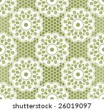 Seamless retro lacing pattern in grassy colors - stock vector