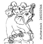 children on an elephant. black... | Shutterstock .eps vector #260232566