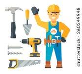 builder and tools. flat vector... | Shutterstock .eps vector #260249948