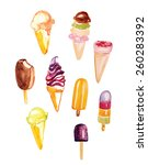 watercolor ice cream vector... | Shutterstock .eps vector #260283392