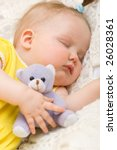 little baby girl sleeping with... | Shutterstock . vector #26028361