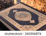 Small photo of An macro image of the Quran. The Quran literally meaning 'the recitation' is the central religious text of Islam, which Muslims believe to be the verbatim word of God or Allah