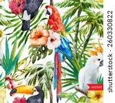 pattern  watercolor  flowers ... | Shutterstock .eps vector #260330822