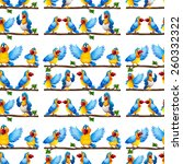 seamless parrots on a branch | Shutterstock .eps vector #260332322