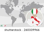 world map with magnified italy. ... | Shutterstock .eps vector #260339966