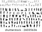 hundreds of people silhouettes... | Shutterstock .eps vector #26035636