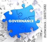 governance on blue puzzle on... | Shutterstock . vector #260371682