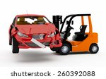 3d forklift truck with a red... | Shutterstock . vector #260392088