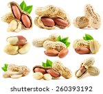Set Of Peanuts Isolated On The...