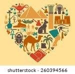 symbols of egypt in the shape... | Shutterstock .eps vector #260394566