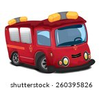 cartoon red fire engine. | Shutterstock . vector #260395826