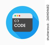 coding flat icon with long...