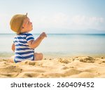 little baby boy sitting on the... | Shutterstock . vector #260409452