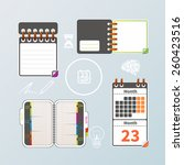 colorful notebook and calendar... | Shutterstock .eps vector #260423516