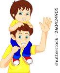 father giving his son piggyback ... | Shutterstock .eps vector #260424905