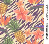 tropical exotic flowers and... | Shutterstock .eps vector #260432666