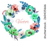 feathers watercolor  wreath... | Shutterstock .eps vector #260435666