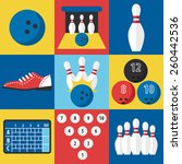 vector set of bowling icons in... | Shutterstock .eps vector #260442536