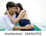 Happy Couple In Love On Boat I...