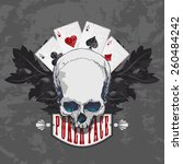 Poker Face Skull And Four Aces