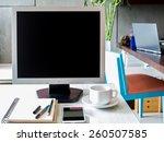 modern workspace with computer...   Shutterstock . vector #260507585