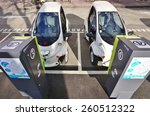 Small photo of GRENOBLE, FRANCE -26 FEB 2015- Editorial: The town of Grenoble launched in 2014 Cite Lib by Hamo, shared ultra compact electric vehicles (made by Toyota) connected to public transport.