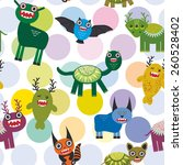 cute cartoon monsters set. ... | Shutterstock .eps vector #260528402