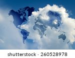Blue sky and sunlight with world map (Outline elements of world map image from NASA public domain)