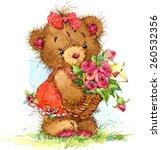 Teddy Bear And Flower...