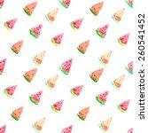 watercolor seamless watermelon ... | Shutterstock .eps vector #260541452