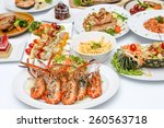 grilled shrimp  and many food... | Shutterstock . vector #260563718