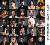 collage of different people... | Shutterstock . vector #260574185