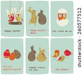 easter cards with cute owls ... | Shutterstock .eps vector #260577512