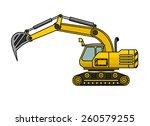Yellow Excavator Lifts The Ladle