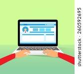 laptop hands type working using ... | Shutterstock .eps vector #260592695