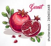 delicious ripe pomegranate with ... | Shutterstock .eps vector #260601668