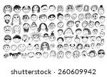 stick figure faces. vector | Shutterstock .eps vector #260609942