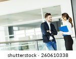 young couple working in the... | Shutterstock . vector #260610338