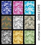 set of  camouflage pattern.... | Shutterstock .eps vector #260611595