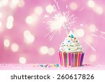 pink cupcake with sparkler and... | Shutterstock . vector #260617826