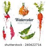 set of watercolor vegetables | Shutterstock .eps vector #260622716