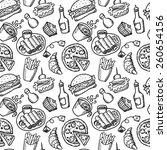 food hand drawn seamless | Shutterstock .eps vector #260654156