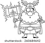 a cartoon illustration of thor... | Shutterstock .eps vector #260684642
